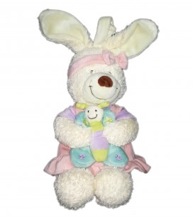 Doudou peluche musicale Lapin blanc robe rose papillon Tex Baby