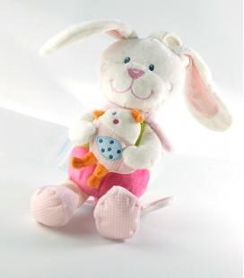 Doudou peluche musicale lapin rose Tex Baby Carrefour CMI oiseau 26 cm