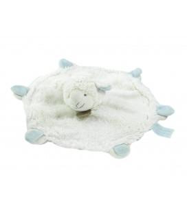 Doudou et Compagnie - Agneau mouton blanc bleu plat rond Mon Tout Petit DC2427