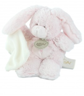 Doudou peluche lapin rose celin mouchoir blanc Baby Nat 22 cm