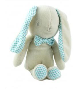 Doudou lapin gris beige bleu bébé Laboratoires KLORANE 22 cm carreaux