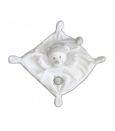 Doudou plat OURS blanc gris NICOTOY Bonnet rayures grises
