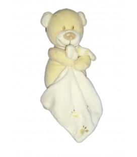 Doudou Ours crème beige clair Pommette Mouchoir blanc Empreintes Pattes H 20 cm