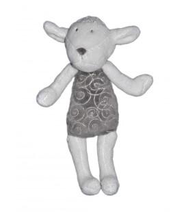 Doudou mouton Obaibi blanc gris 27 cm spirales