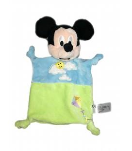 Doudou plat bleu Mickey vert nuage soleil cerf volant Disney Nicotoy