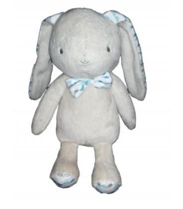 Doudou lapin gris beige bleu bebe Laboratoires KLORANE 22 cm