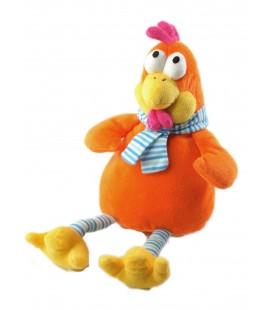 Peluche doudou poule orange echarpe bleue Fizzy 32 cm