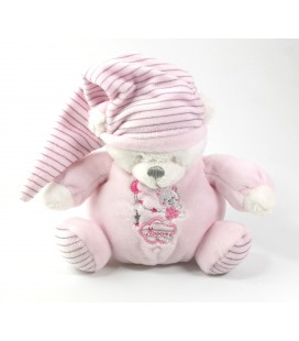 Doudou ours rose peluche musicale Moon Max and Sax Carrefour 15 cm
