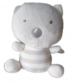 Doudou chat gris Miaou blanc rayures 18 cm Orchestra Premaman