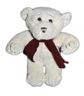 Doudou peluche ours blanc Echarpe borderaux Yves Rocher 20 cm