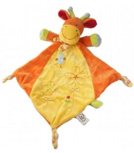Doudou plat girafe jaune orange Fleurs oiseau brodé - Mots d'Enfants 579/1553