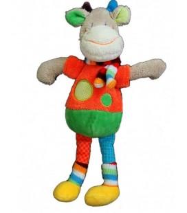 Doudou Vache Mots d'Enfants Siplec Gris Ronds bleu rouge verts 32 cm