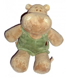 Doudou peluche Hippopotame Hippoum NOUKIE'S Beige vert 25 cm
