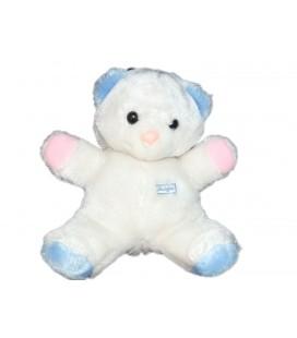 Boulgom Peluche nounours ours blanc bleu rose 30 cm