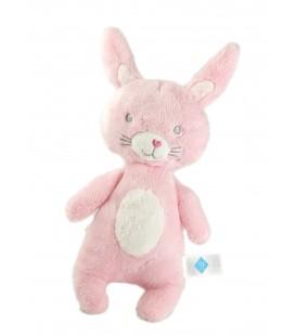 Doudou peluche lapin rose blanc pois nez coeur Tex Baby 26 cm Carrefour