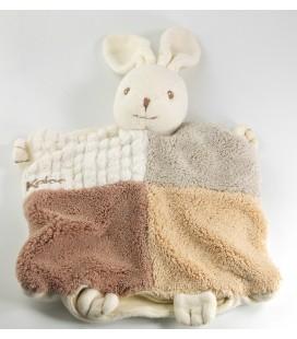 Doudou marionnette lapin beige marron blanc