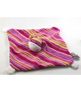 Doudou plat vache rose rayure tricot laine Orchesra Prémaman