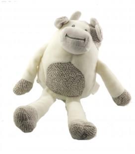 Doudou vache blanche grise Obaibi tricot 28 cm