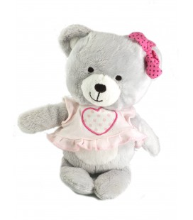 Peluche doudou ours gris robe rose coeur Orchestra 28 cm
