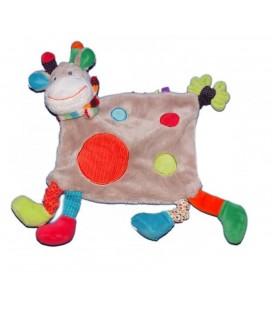 Doudou plat Vache Girafe grise ronds rouge bleu vert Nicotoy Simba 579/1353