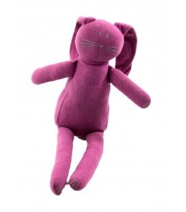 Doudou lapin violet mauve tissu Petit Bateau 25 cm