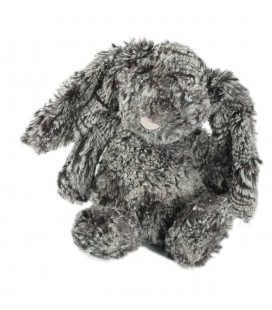 Doudou peluche Lapin gris chiné Jellycat 26 cm nez rose