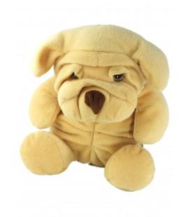 Peluche doudou chien jaune beige nez marron Sharpei Nounours 26 cm