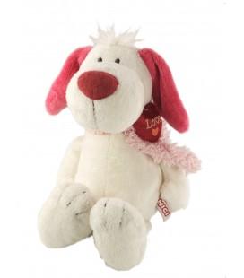 Doudou peluche chien blanc rose Coeur rouge Love NICI 38 cm