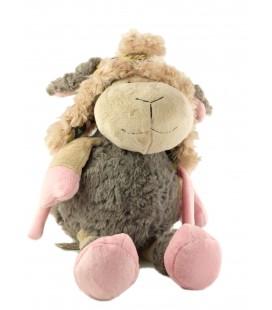 Peluche doudou mouton gris rose bonnet Cocktail Scandinave 35 cm