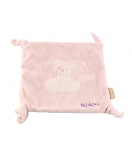 Doudou plat ours rose violet Kaloo ourson bordé 4 noeuds