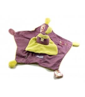 Doudou Lucien Sauthon Baby Déco Les Zigotos Lapin vert violet mauve