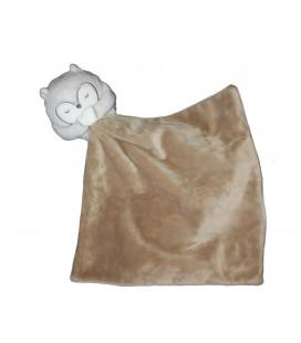 Doudou Hibou chouette gris blanc beige mouchoir Obaibi