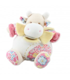 Doudou et Compagnie Vache blanche rose fleurs Pistache 25 cm