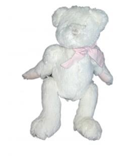 Peluche doudou ours blanc Jacadi noeud rose carreaux 30 cm