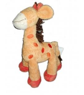 Peluche doudou girafe orange Kiabi 26 cm crinière laine marron
