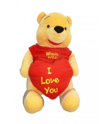 Grande peluche doudou WINNIE L'OURSON Coeur I love you 45 cm