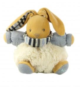 Peluche doudou lapin blanc bleu Kaloo Echarpe rayures 18 cm