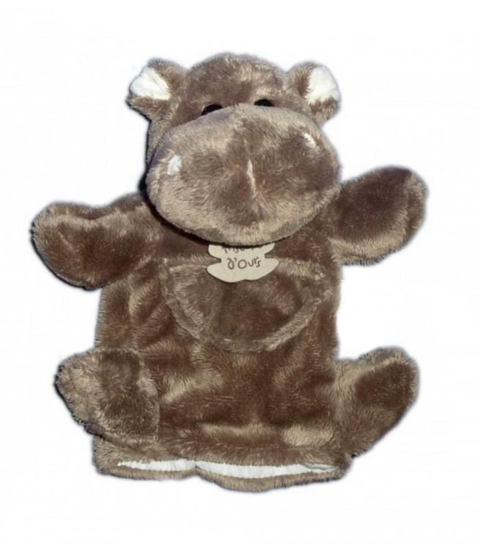 marionnette doudou hippopotame marron brun hippo histoire d 39 ours chez vous d s demain. Black Bedroom Furniture Sets. Home Design Ideas