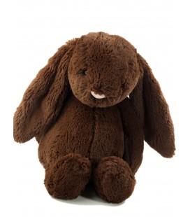 Doudou peluche Lapin chocolat marron brun nez rose 31 cm Jellycat
