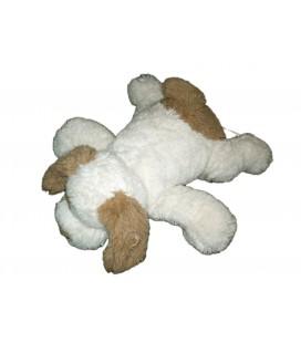 Peluche chien blanc cèrme marron beige Carrefour CMI 35 cm TY021186