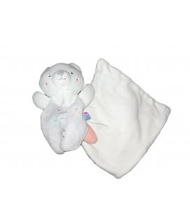 Doudou ours blanc gris Cajou Sucre d Orge Mouchoir