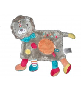 Doudou plat lion Simba gris rond orange 569/0233