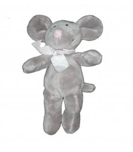 Doudou peluche souris grise rose noeud Maxita 20 cm