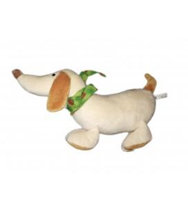 Peluche doudou chien beige foulard vert fraises 35 cm Maxita