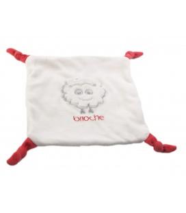 Doudou plat mouton nuage blanc 4 noeuds rouges Brioche