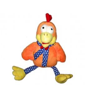 Doudou poule coq orange bleu pois Fizzy 36 cm