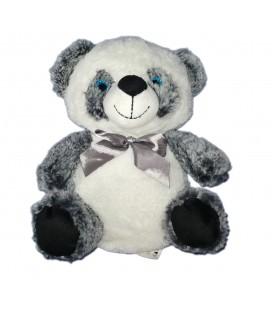 Peluche doudou Panda Ours blanc gris chiné Max & Sax Carrefour CMI assis 25 cm