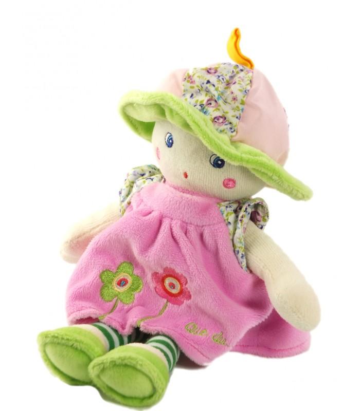 peluche doudou poup e rose que du bonheur chapeau vert 24 cm chez vous d s demain. Black Bedroom Furniture Sets. Home Design Ideas