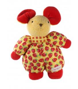 Peluche doudou Souris rouge tissu imprimé fraises Nounours 32 cm