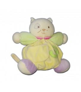 Peluche doudou chat jaune vert 3 Kaloo 18 cm